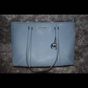 Michael Kors Baby Blue Large Top Zip Laptop Bag